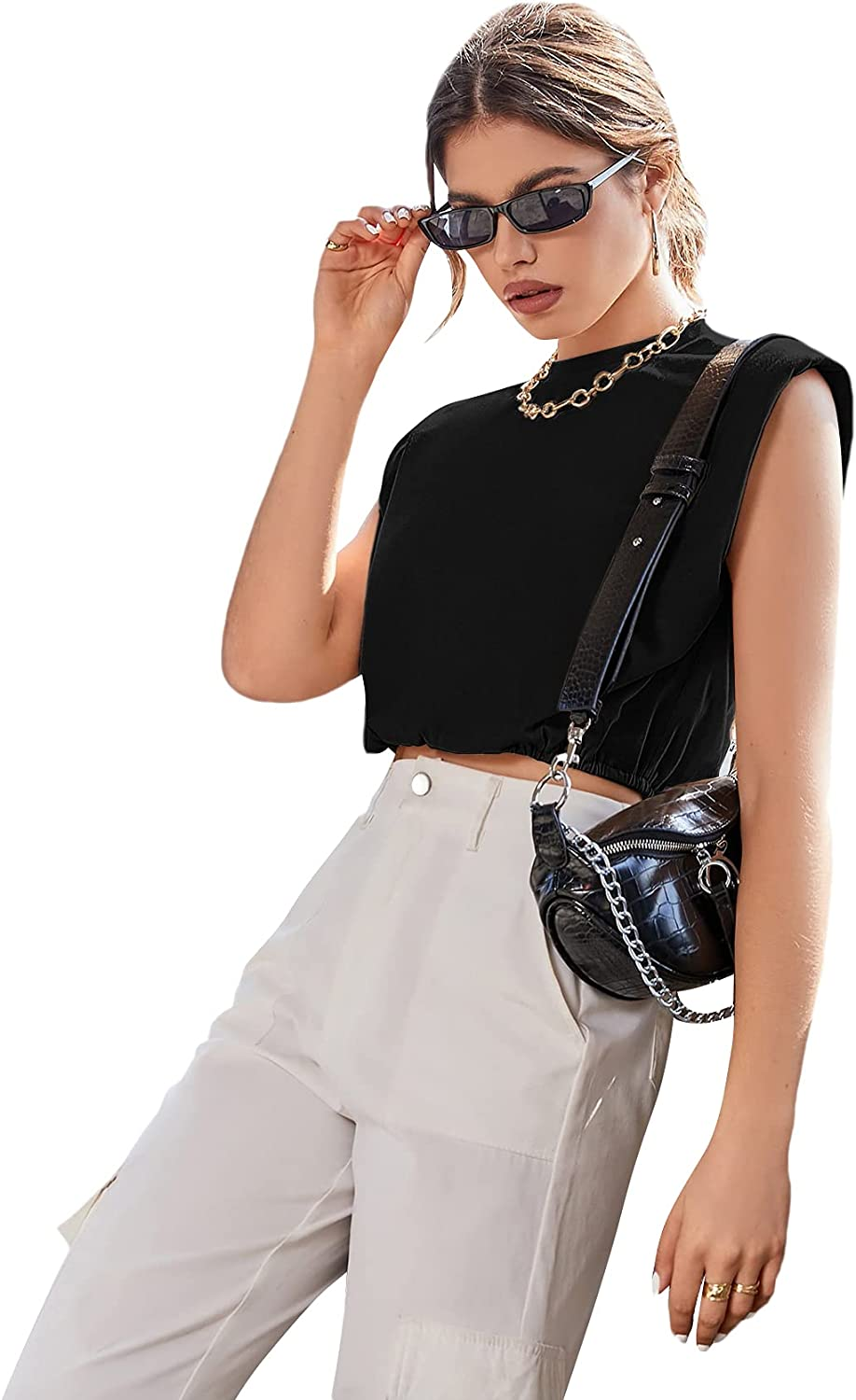 Romwe Women's Shoulder Pads Sleeveless Shirts Round Neck Solid Tank Crop Tops