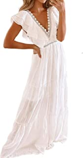 Sponsored Ad - Bdcoco Women's V Neck Floral Lace Wedding Dress Short Sleeve Bridesmaid Evening Party Maxi Dress