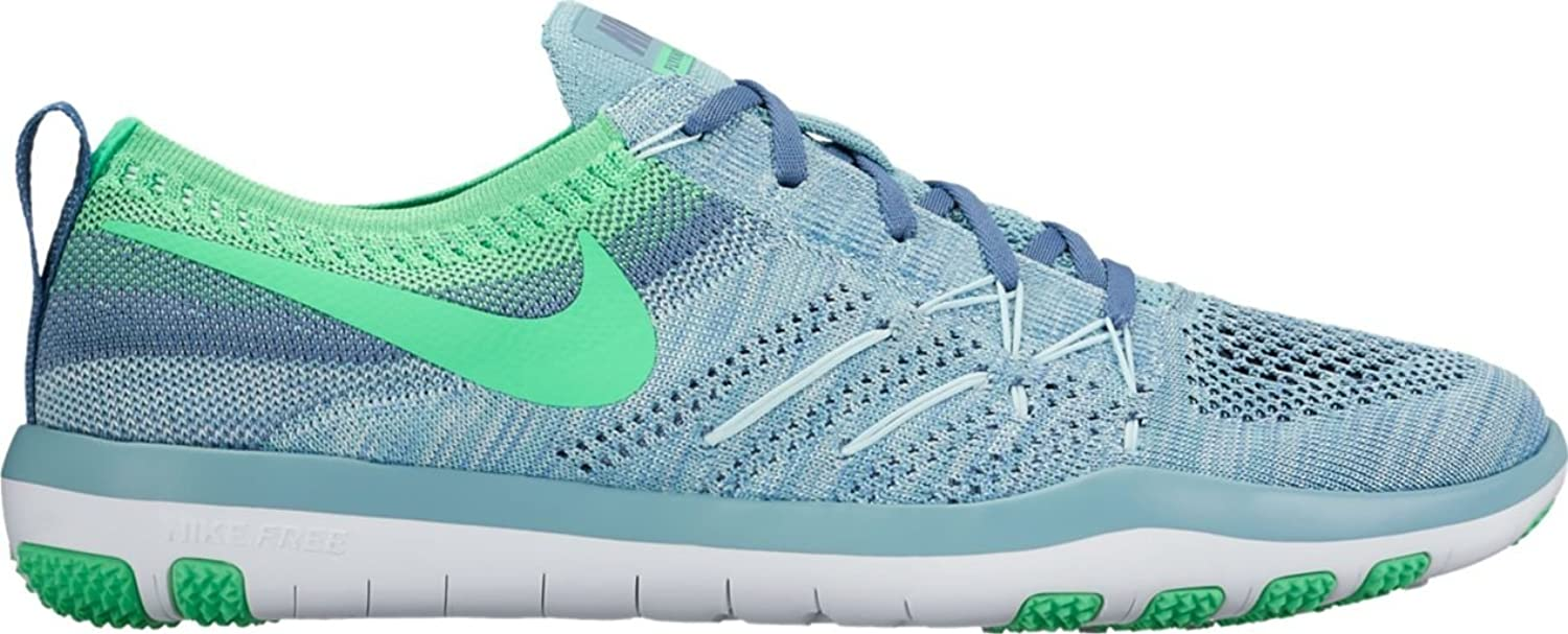 NIKE Women's Free TR Focus Flyknit Running shoes (6.5 B(M) US, Mica bluee Electro Green-Ocean Fog-White)