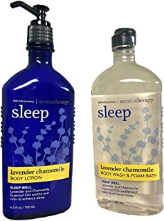 Bath & Body Works, Aromatherapy Sleep Body Lotion and Body Wash & Foam Bath, Lavender Chamomile (Bundle of 2)