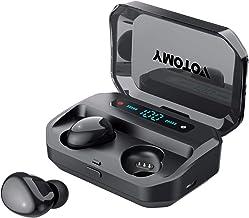 Auriculares inalámbricos VOTOMY Bluetooth 5.0 in-ear auriculares 200 horas de reproducción, sonido estéreo 5D HD, modo mono/compartir, IPX7 impermeable, 3500 mAh de carga incorporado micrófono auriculares deportivos para el trabajo y el gimnasio