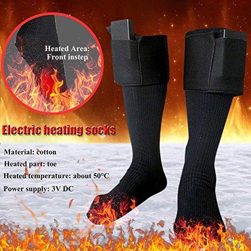Chaussettes chauffantes en coton, tailles 36 - 46, pour hommes et femmes (piles non incluses)