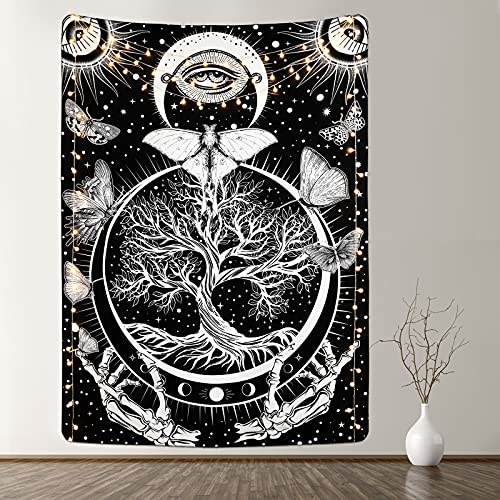 Butterfly Tapestry Tree of Life Tapestry Tapestry Sun and Moon Tapestry Celestial Star Tapestry Black and White Skeleton Tapestry for Room(51.2 x 59.1 inches)