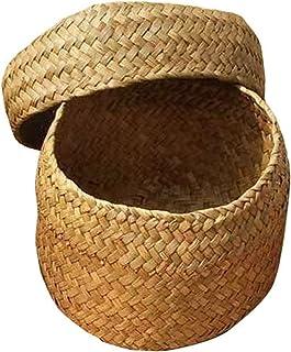 FANGPAN Panier de Rangement en Bambou Fait à la Main 12,5 * 8CM Snack Panier en Osier Boîte de Finition de Panier de Fleurs