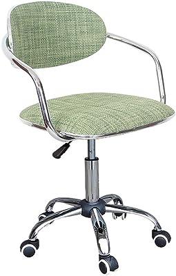 LJF Home Computer Chair, Silla giratoria Caja registradora Taburete Giratorio Silla Elevación Rattan Respaldo Barstool