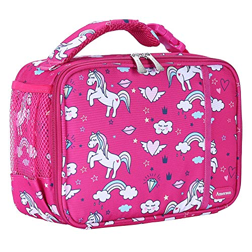 Kids Lunch Box with Supper Padded Inner Keep Food Cold Warm for Longer Time,Amersun Leak-proof Solid Insulated School Lunch Bag with Multi-Pocket for Teen Boys Girls,CPC Certified,Flying Horse