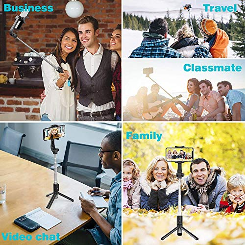 GiftMax® Selfie Stick, Extendable Selfie Stick with Wireless Remote and Tripod Stand, Portable, Lightweight, Compatible with All Smartphone and Mobile (Selfie Stick R1, Black)