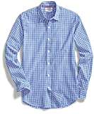 Amazon Brand - Goodthreads Mens Standard-Fit Long-Sleeve Gingham Plaid Poplin Shirt, Blue/White, Large