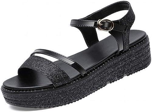 LTN Ltd - sandals Sandales Compensées été Femme Femme Chaussures de Mode Chaussures de Plage Chaussures de Plage été, Noir, 35  gros pas cher