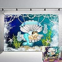 ベビーシャワーの背景アクアマーメイドプリンセス写真撮影の背景7x5ftシルバークラウンパールシェル海の下でビニールケーキの背景のテーブルの装飾