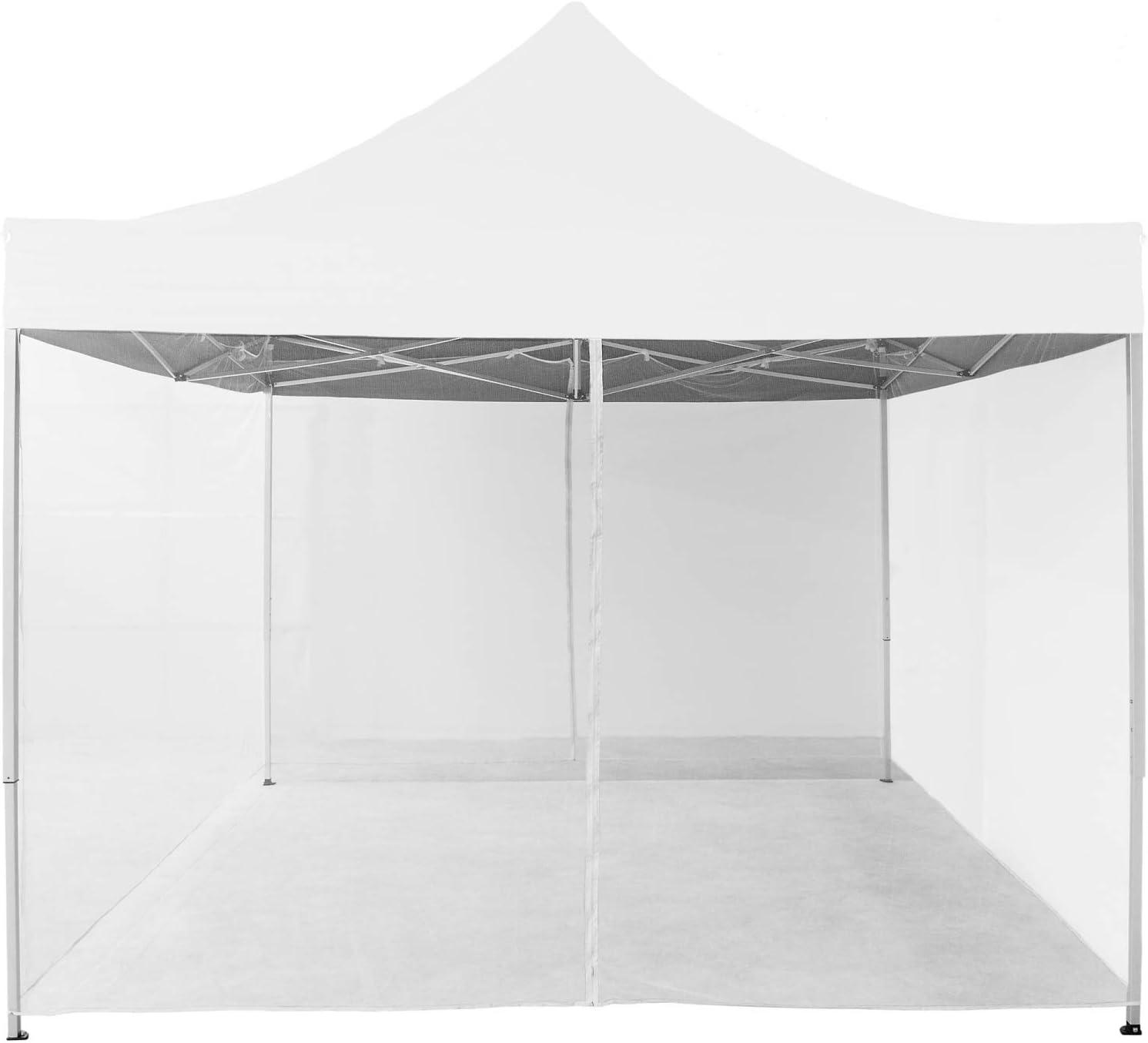 INSTENT® Mosquitera para cenador de 3x3 12 m. Selección de Color: Negro o Blanco, Cremallera 2X, con Tiras de Velcro para la sujeción, mosquitera, ...