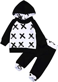 Infant Toddler Baby Hoodie Outfit Shirts Cute Cross Pattern Kids Black Tops Pant Set Autumn Winter Clothes