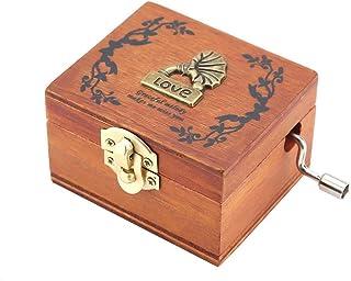 Caja de música, Vintage Mini Caja de música de madera Manivela Cajas musicales Mecánico clásico Craft Regalo de cumpleaños para amigos y niños