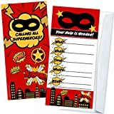 Superhero Kids Birthday Party Invitations (12 Count with Envelopes) - Super Hero Party Supplies - Large Fill in The Blank Invites