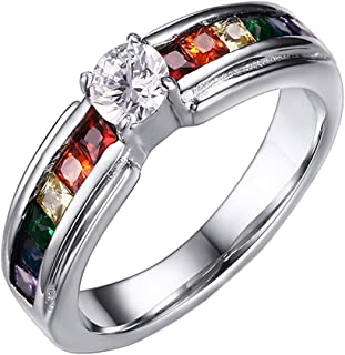 Unisex Stainless Steel Silver Rainbow Cubic Zirconia Pride LGBT Ring Gay & Lesbian Wedding Band