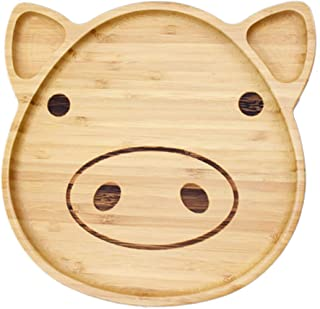 LONTAI Bamboo Kid Appetizer Snack Plate Dessert Plate Serving Tray with Dividers for Toddler Kids Baby (Pig)