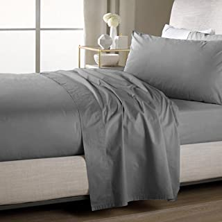 Sweet Home Collection Quality Stitched 100% Brushed Microfiber Solid Color Flat Sheet, Twin, Gray