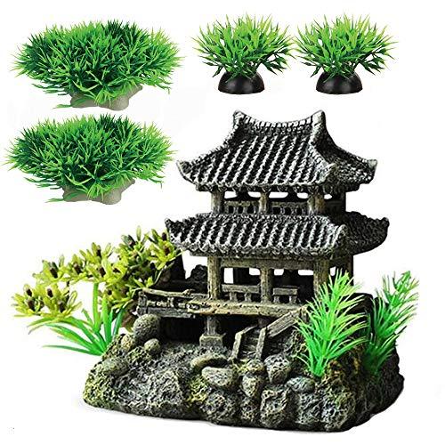 Décoration d'aquarium de taille moyenne - 16 cm de haut - Accessoires de décoration rétro - Style asiatique - Maison A