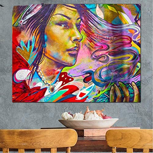 Gems Stones Full Round Drill DIY Diamond Painting Abstract Graffiti Woman Pattern 5D Diamond Embroidery Kit Lady Wall Decoration