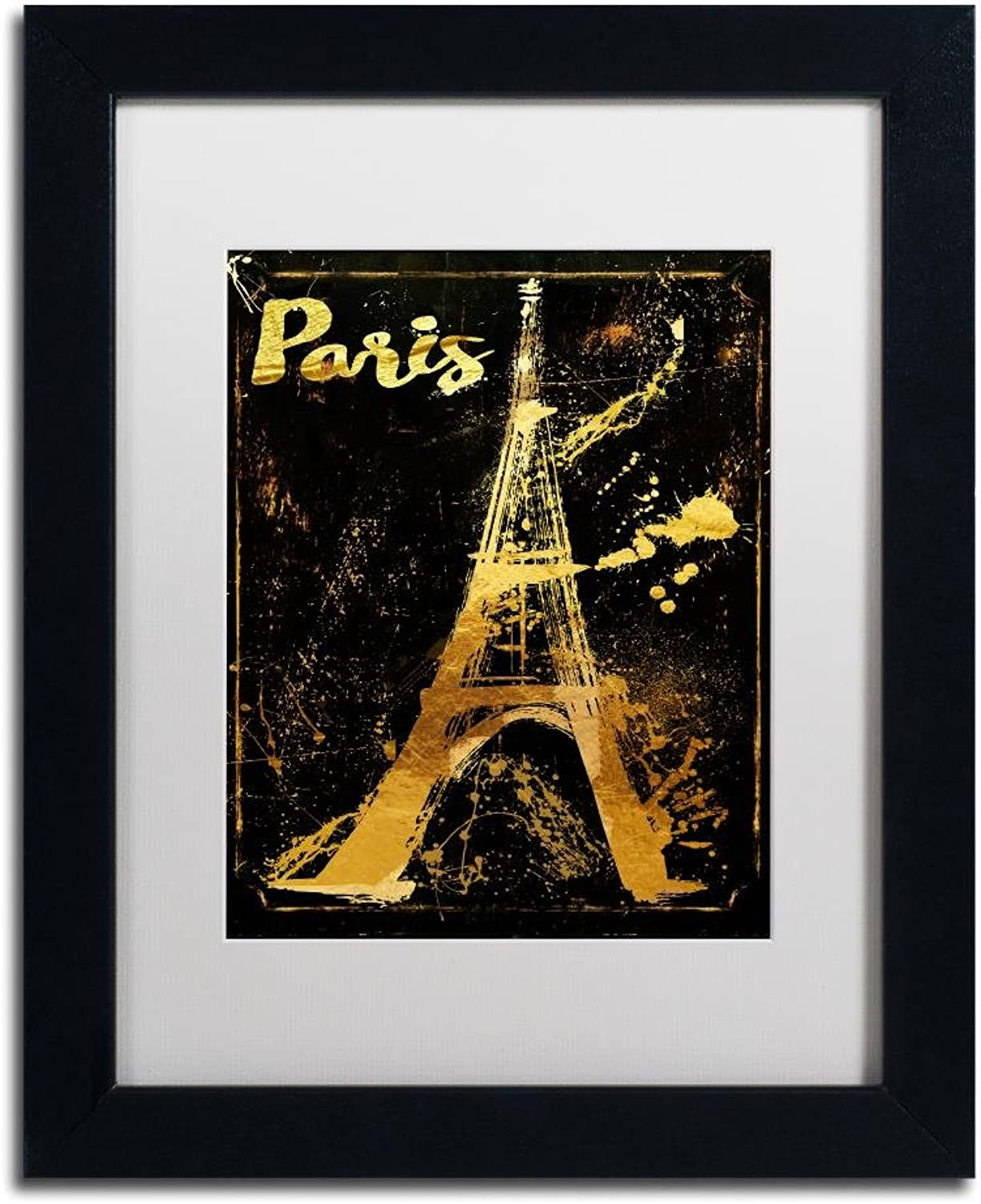 Trademark Fine Art gold Ornate Eiffel by color Bakery, White Matte, Black Frame, 11  X 14