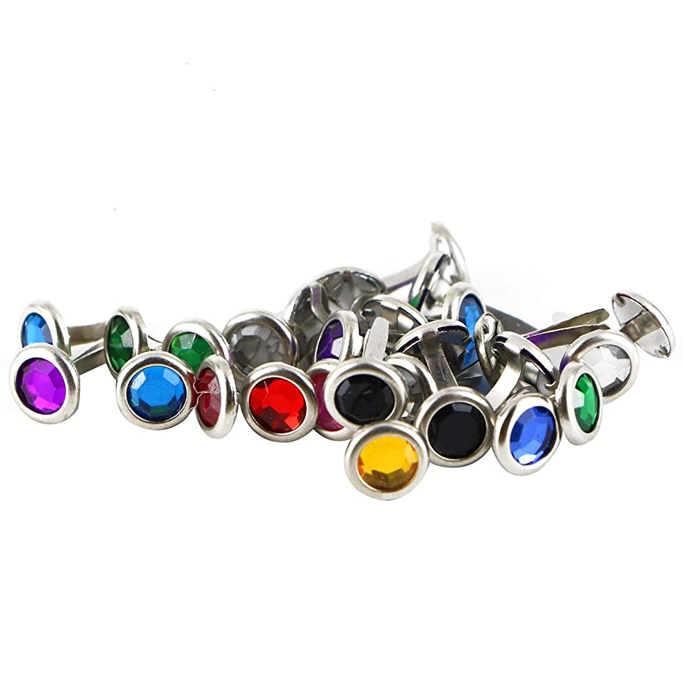 Monrocco 200Pcs 8mm Mixed Color Rhinestone Brads Metal Paper Fasteners Brad for Scrapbooking Card Making Wedding Craft