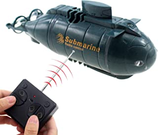 Tipmant Mini RC Nuclear Submarine Toy Radio Remote Control Boat Electric Dive Fish Water Tank Kids Gifts (Blue)
