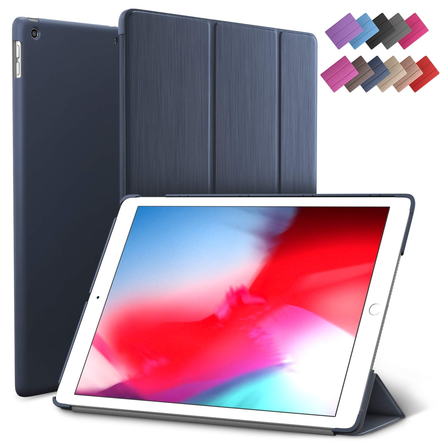 iPad Mini 5 case, ROARTZ Metallic Navy Blue Slim Fit Smart Rubber Coated Folio Case Hard Cover Light-Weight Wake/Sleep for Apple iPad Mini 5th Generation 2019 Model A2133 A2124 A21