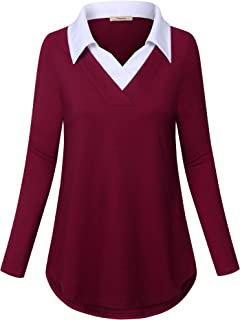 Women's Long Sleeve Contrast Collar Shirt Plaid V Neck Office Tunic Blouse