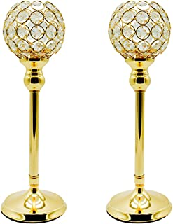Joynest Crystal Candle Holders Coffee Table Decorative Centerpiece Candlesticks Set Dining Table Decorations, Gifts Thanksgiving/Birthday/Valentines Day/Housewarming (Gold, 2 pcs 13.8'')