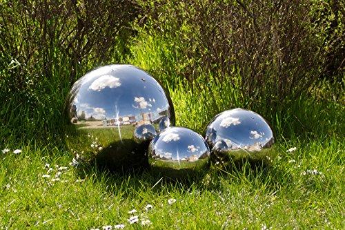 Köhko Set of 3 decorative spheres polished from stainless steel; garden spheres; stainless steel sphere; floating sphere ø 4-8-12 CM