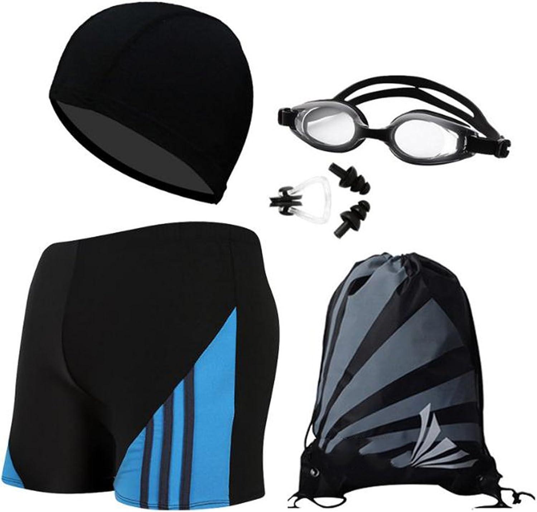 Andy Pansy Men's Swimsuit Swim Goggles Swim Cap Ear Plugs Nose Clip Jammer Swimming Set