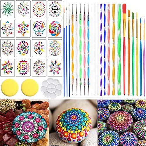 Mandala Dotting Tools Set with Mandala Paint Stencil, Mandala Dot Painting Tools,41 PCS Painting Kit for Painting Rocks Drawing, Coloring, Nail Dotting,Mandala Art and Drafting Art Supplies