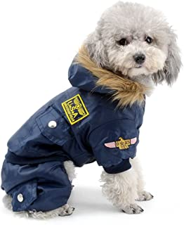 SELMAI Small Dog Apparel Airman Fleece Winter Coat Snowsuit Hooded Jumpsuit Waterproof (This Style Run Small, pls take a Measure of Your furbaby and Choose one Size Larger)