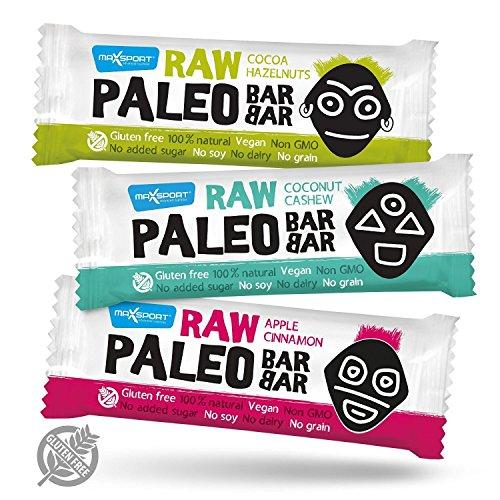 Maxsport Nutrition Roh Paleo Riegel Raw Energy Rohkost Riegel Mix 20 Stück - Roh Paleo Vegan Glutenfrei Superfood Rohkost Riegel Energie riegel Ohne Zuckerzusatz - 50g x 20 Stück (Mix Box)