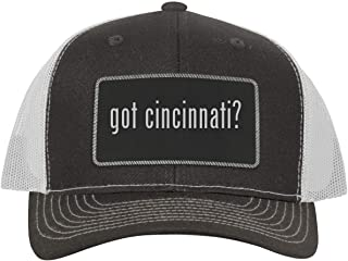 One Legging it Around got Cincinnati? - Leather Black Metallic Patch Engraved Trucker Hat