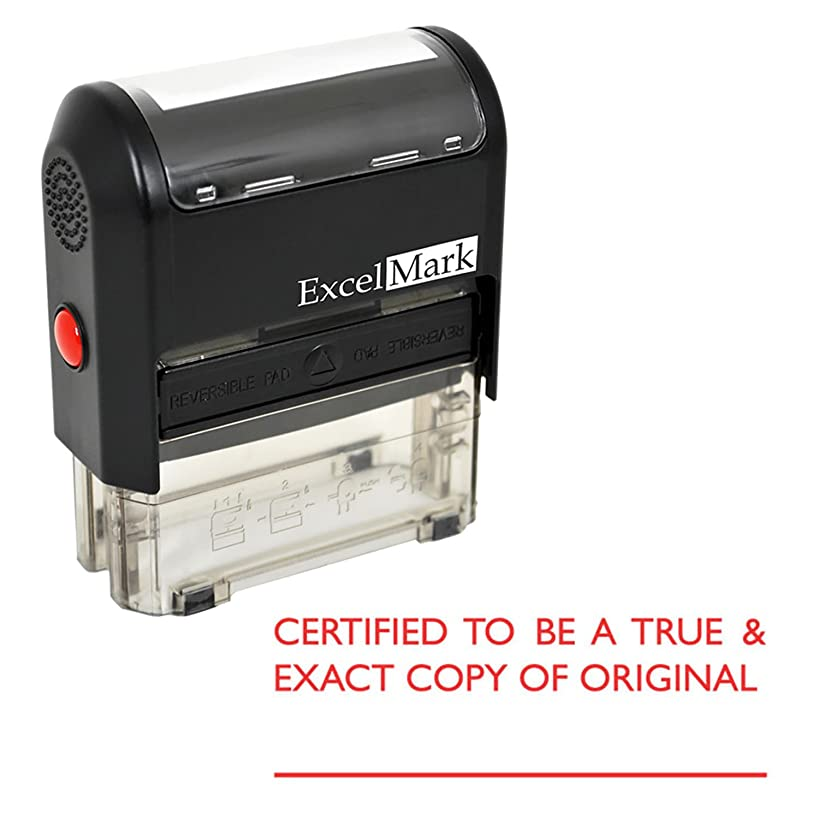 Certified to BE A True & Exact Copy of Original Self Inking Rubber Stamp - Red Ink (ExcelMark A2359)