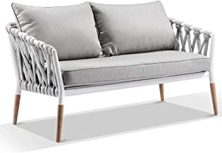 Silas Outdoor Ivory Rope 2 Seater Chair, Ivory Aluminium - Outdoor Aluminium Chairs, Outdoor Furniture - Bay Gallery Furni...