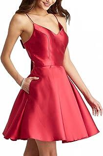 فستان Ever Girl نسائي قصير وأشرطة بطول الركبة من الساتان لإشبينة العروس فستان كوكتيل