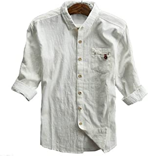 CIKRILAN Men's Linen Turn Down Collar Button Down Roll Up Sleeve Shirt Casual Leisure Vintage Comfort Shirt Tops