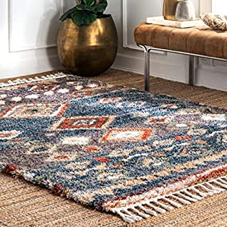 """nuLOOM Rosemarie Southwestern Moroccan Shag Rug, 6' 7"""" x 9', Blue (B07NSSK9T6) 