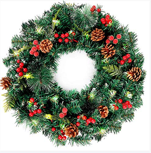 FUNARTY Christmas Wreath 22 Inches with red Berries and pinecones, 50 LED Lights for Front Door Decoration Winter Christmas Indoor Outdoor Use