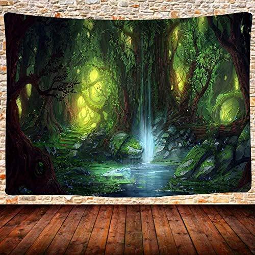 Yhjdcc Verzauberter Wald Tapisserie Fantasie Waldbaum Naturlandschaft Wandteppich Wand H?nge M?rchen Weder Welt Wasserfall Tapisserie Wandbehang 150x200cm