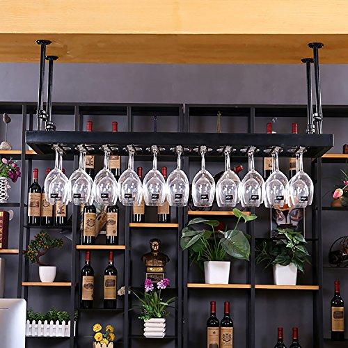 FAFZ Porta Bicchiere di Vino Rosso Porta Ferro da Vino Porta Bicchiere Alto Portabicchieri sospeso Espositore Bar Espositore da Tavolo da Bar (Colore : Black, Dimensioni : 80 * 35cm)