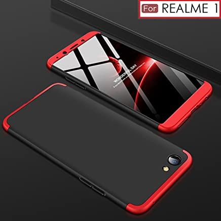 WOW Imagine 3 in 1 Double Dip Case Anti Slip Super Slim Hybrid PC All Angle Protection Lightweight Matte Premium Hard Back Cover for OPPO REALME 1 (Black with Red)