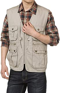 XXT Vest Multi-Pocket Spring Sleeveless Large Size Tooling Casual Thin Coat Practicality (Color : Khaki, Size : XXXL)