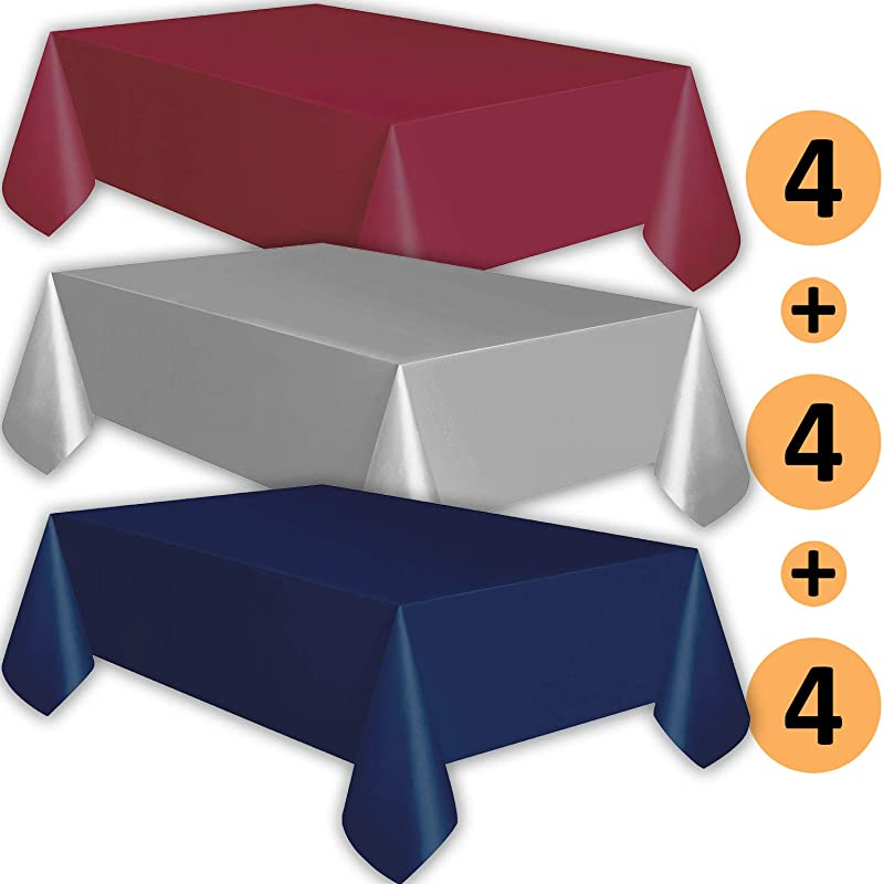 12 Plastic Tablecloths Burgundy Silver Navy Premium Thickness Disposable Table Cover 108 X 54 Inch 4 Each Color