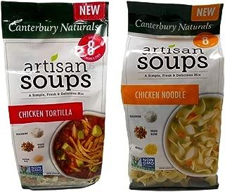 Canterbury Naturals Non-GMO Artisan Soup Mix 2 Flavor Variety Bundle: (1) Chicken Tortilla, and (1) Chicken Noodle (6.5-6.8 Ounces)