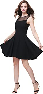 Women's Sleeveless Pleated Mesh Panel A-line Short Flare Party Dress