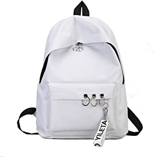 Wultia - Fashion Backpack Women Black Vintage Large Bag for Female Teenage Girls School Bag Solid Backpacks Mochila #G8 White