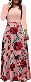 Aublary Womens Long Sleeve Maxi Dress Round Neck Floral Print Casual Tunic Long Maxi Dress